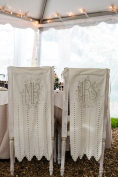 Mr & Mrs chair decorations - a romantic detail #FearringtonWedding #FearringtonVillage | Photographed by @Krystal Kast Photography #KrystalKastPhotography