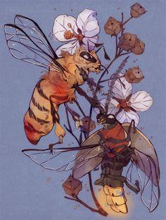 "godzillabreath: "" firefly, honeybee, seedbox plant, a gentle, downy blue for rainbrolly "" Animal Drawings, Art Drawings, Bee Art, Sketch Inspiration, Art Graphique, Gravure, Pretty Art, Illustrations, Aesthetic Art"