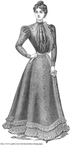 Victorian lady in lace-trimmed dress with narrow belted waist and high collar, from late 1800s fashion magazine