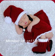 Newborn Baby Infant Christmas Knitted Crochet Costume Photo Photography Prop L90