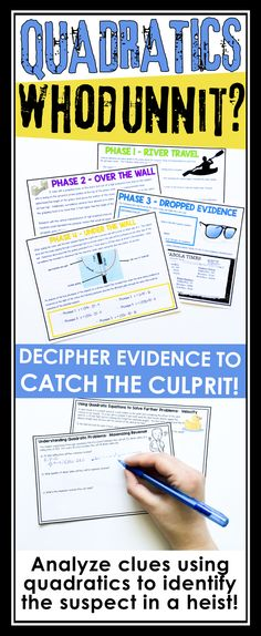 APPLY SKILLS FACTORING AND SOLVING QUADRATICS PROBLEMS IN THIS ESCAPE ROOM STYLE ACTIVITY Algebra Activities, Math Resources, Algebra Interactive Notebooks, Math Intervention, Secondary Math, Room Style, Escape Room, Math Teacher, Problem Solving