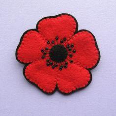 Large Red Poppy Brooch, beaded felt flower brooch