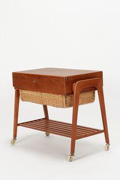 Povl Dinesen Sewing Table Teak & Raffia 60's