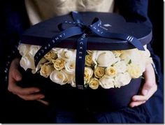 hatbox with flowers