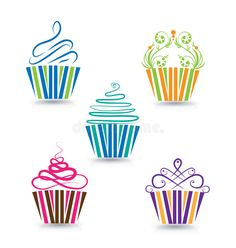 Illustration about Cupcakes stylized swirly design background image vector logo template. Illustration of collection, birthday, dessert - 60954370 Cupcake Tattoo Designs, Cupcake Tattoos, Cupcake Vector, Cupcake Logo, Baking Tattoo, Brochure Design, Logo Design, Pastry Logo, Cupcake Drawing
