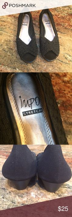 """IMPO Stretch black braided slip on Shoes Gently worn once. Size 7. Man made materials. 1"""" heel. Peep toe. IMPO Shoes Flats & Loafers"""
