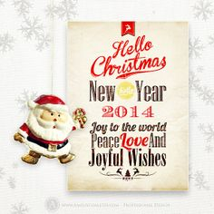 Printable happy new year card 2014 instant download 5x7 red or printable christmas card 5x7 vintage instant by ameliycom on etsy 700 vintage 2014 christmas instant solutioingenieria Gallery