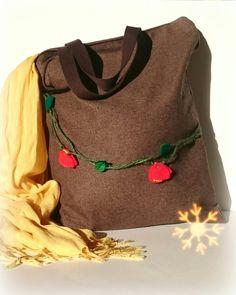 Tote Bag - Shopping Bag - Book Bag - Handbag - Handmade Brown Tweed Bag - Floral Fashion - Fall Fashion (44.95 GBP) by AdesignFor