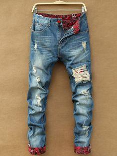 bf3a1158cc32d Zipper Fly Holes Cat s Whisker Design Crimping Straight Leg Men s Jeans. Jeans  PantsBermudas ShortsBiker ...