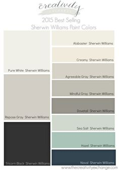 2015 Best Selling and Most Popular Sherwin Williams Paint Colors.  The Creativity Exchange