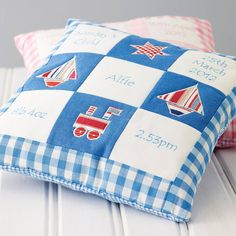 This beautiful patchwork embroidered baby memory cushion is personalised with the birth details - perfect for a new baby boy or girl Patchwork Cushion, Applique Cushions, Personalised Cushions, Baby Memories, Baby Pillows, We Are The World, Baby Quilts, Baby Memory Quilt, Memory Quilts