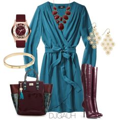 Burgundy and Teal, created by djgauh on Polyvore