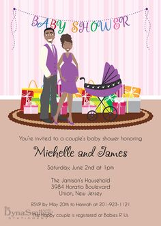 Expecting Couple - Baby Shower Invitation - African American
