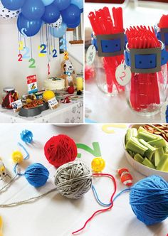 A Puppy & Kitten Themed Birthday Party with DIY dog & cat plates, paw print stamps, dog collar cups, primary colors, puppy piñata, yarn balls & clever foods