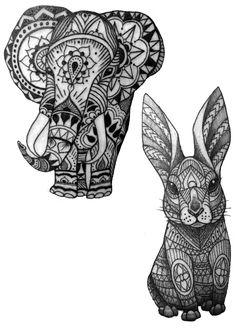 Elephant Bunny Rabbit Tattoo Ideas Geometric