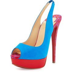 Christian Louboutin Suede Peep-Toe Red Sole Pump (€885) ❤ liked on Polyvore featuring shoes, pumps, heels, blue, blue suede pumps, high heel platform pumps, slingback pumps, platform shoes and christian louboutin pumps