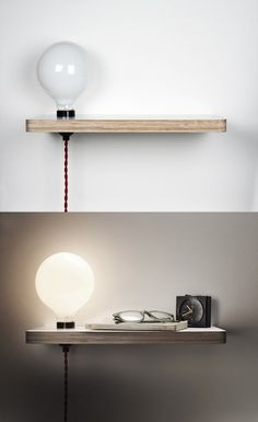diy lamp table de chevet diy a - diy Diy Nightstand, Floating Nightstand, Floating Shelves, Bedside Tables, Diy Home Decor For Apartments, Home Decor Inspiration, Space Saving, Diy Design, Diy Furniture