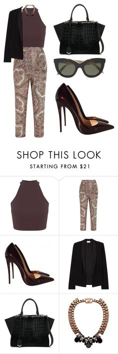 """Patterned Trousers"" by tania-alves ❤ liked on Polyvore featuring Miss Selfridge, Zimmermann, Christian Louboutin, American Vintage, Fendi, Mawi and Victoria Beckham"