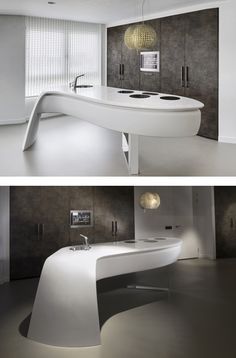 HI-MACS® presents Leaf at Maison & Objet  - A contemporary kitchen with rounded organic form @HIMACS