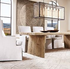 RH Nordcasa Dining Table - thought maybe table shape like this for kitchen Moroccan Home Decor, Hamptons House, Best Dining, Home Hardware, Home And Deco, Dining Room Design, Decoration, Home Furnishings, Luxury Homes