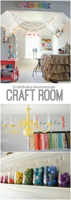 This is craft room love! Its a DIY space crawling with great ideas for storage and design. Make this into your new home! www.CraftaholicsAnonymous.net: