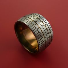 Titanium Tread Carved Design Ring Bold Bronze Unique Band Custom Made to Any and width options