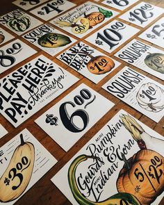 Just finished up the last of these guys. They'll be all packaged up and on their way to illinois shortly! #lettering #signs #pumpkins #pumpkinfarm Whitney Anderson, T 300, Typography Design, Lettering, Pumpkin Farm, Farm Signs, Book Design, Design Ideas, Illinois