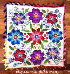 Back In stock Peruvian Pillow covers Hand embroidered flowers