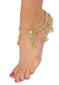 Two-Row Chain Anklet with Bell Dangles - GOLD