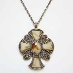 Britain Celtic Cross Scot Scottish Scotland Pendant Necklace Glass Faux Agate Stones Gold Tone Unsigned by redroselady on Etsy