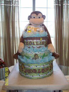 diaper cake... love boy baby jungle!