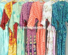 Assorted Kimono robe lot, Bridesmaid robes, Bridal party robes, Bride and bridesmaid robe Long kimono jacket, Printed kimono Robe, Bridesmaid Robes, Brides And Bridesmaids, Indian Fashion, Women's Fashion, Cotton Kimono, Bridal Party Robes, Boho Kimono, Night Wear, Kimono Jacket