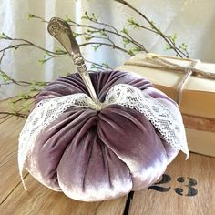 Velvet pumpkin w/vintage silver stem - DUSTY LAVENDER - Fairytale Pumpkin - Thanksgiving - Halloween by PumpkinheadStudio on Etsy