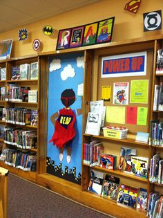 Power Up...Read! display at the Mt. Healthy branch library. Maybe this is the inspiration I need to get my bulletin board just right!