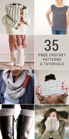35 Free DIY Crochet Patterns and Tutorials - Learn to crochet dozens of beautiful projects, like a scarf, socks, shirt, purse, mittens, boot cuffs, and more. Whether you're a beginner or an expert, there's a project here for you, including tons of perfect holidays gifts and crafts!