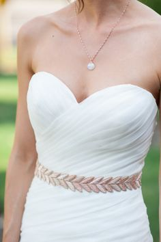 Grecian inspired wedding dress: http://www.stylemepretty.com/2014/09/19/yellow-and-green-summer-chambers-bay-wedding/ | Photography: Blue Rose - http://www.bluerosepictures.com/