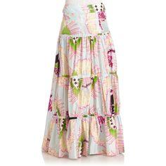 Roberto Cavalli Silk Satin Abstract Maxi Skirt ($422) ❤ liked on Polyvore