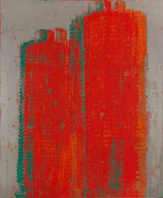 Like other artists in the exhibition, Enoc Perez was inspired by Chicago's iconic 1960s Marina Towers by Bertrand Goldberg. In this 2011 painting, he obscures and dematerializes the distinctive corn-cob shape of the buildings with layers of red paint.