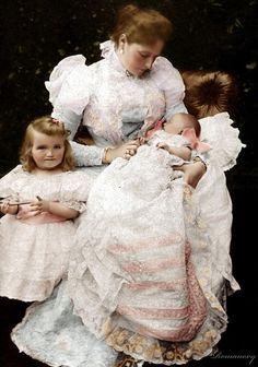 Grand Duchess Olga Nikolaevna of Russia with Alix and baby Tatiana