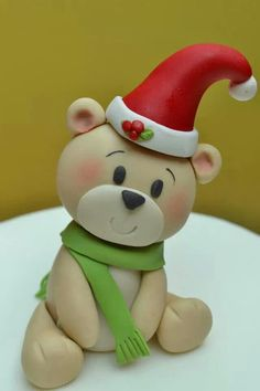 .Teddy bear with Santa hat….adorable and way too cute!