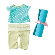 Baby stella Soft Baby Doll Yoga Themed T-shirt, Pants and Yoga Mat Outfit Set