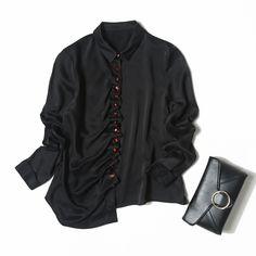 Veydu 2017 Elegant Women Shirts Turn-down Collar Long Sleeve Red Button Design Black Silk Blouse Office Lady Style Vintage Tops