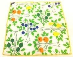 Vtg Fruit Tree Drink Napkin Set 6 Vibrant Colors Orange Plum Pear Summer Patio #Napkins #VintageNapkins #FruitTrees