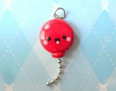 Kawaii Charm Red Balloon Cute Charm Kawaii Polymer Clay Jewelry. via Etsy.