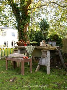 I love this makeshift table.  I have a pair of old saw horses.  Now -- to obtain half of a tree trunk...
