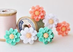 Colorful Daisy ClipsSet of TwoFlower Hair by HangingByAThreadKids, $14.00