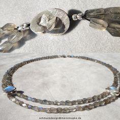 Zwei Ceyolnmondsteine im Labradorithcollier