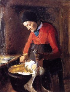 The Athenaeum - Old Lene Plucking a Goose (Anna Ancher - )