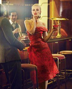 Red organza dress by Michael van der Ham