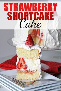 This Strawberry Shortcake Cake is so light and delicious and perfect for summertime! With fresh strawberries and a whipped cream frosting - not to mention the sweetened mascarpone filling, every bite of this from-scratch cake is heavenly! Strawberry Shortcake Recipes, Whipped Cream Frosting, Apple Smoothies, Salty Cake, Summer Fresh, Savoury Cake, Mini Cakes, Clean Eating Snacks, Amazing Cakes